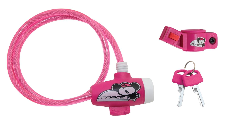 zámek FORCE dětský s držákem 80cm/8mm, růžový