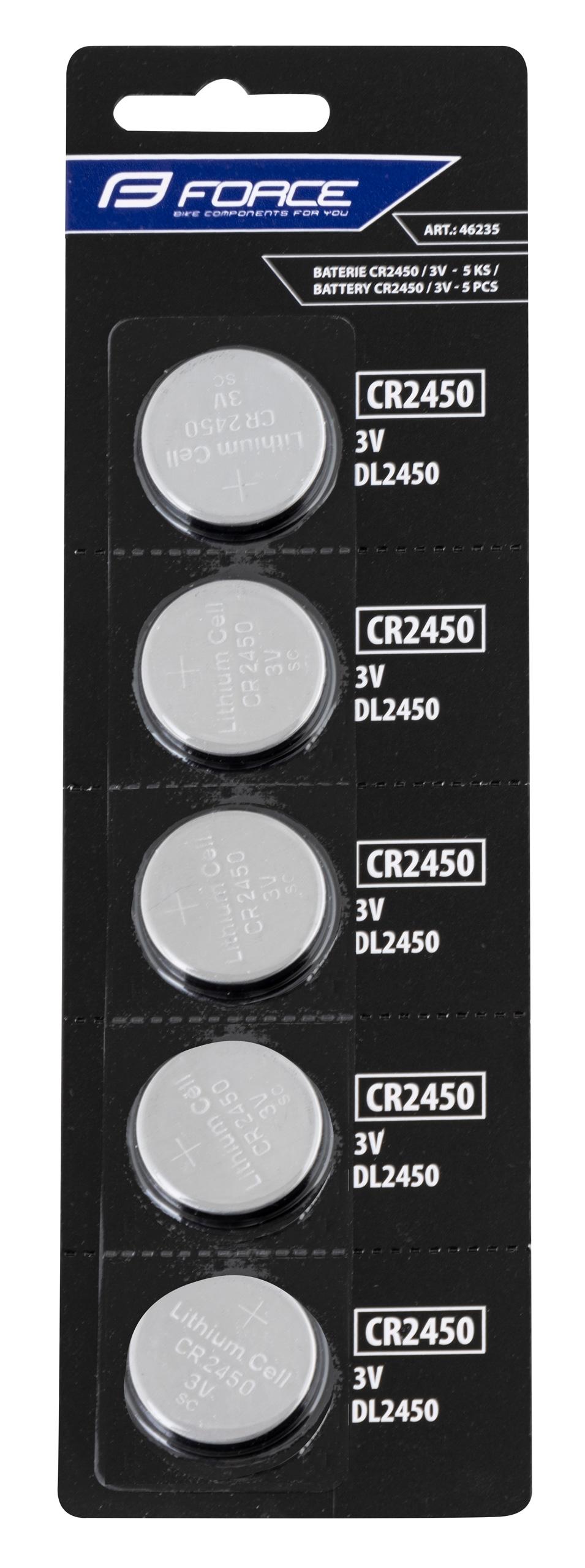 baterie FORCE mincové CR2450 / 3V 1 x 5 ks