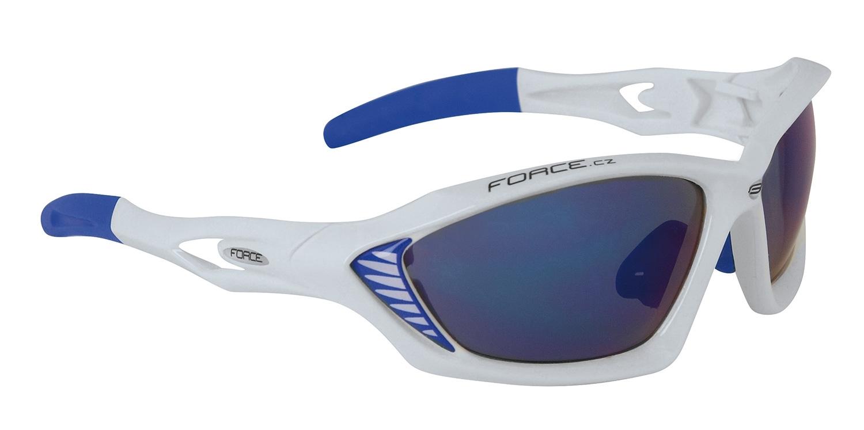 brýle FORCE MAX bílé, modrá laser skla