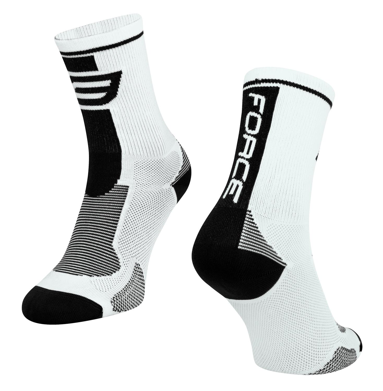 ponožky FORCE LONG, bílo-černé L - XL
