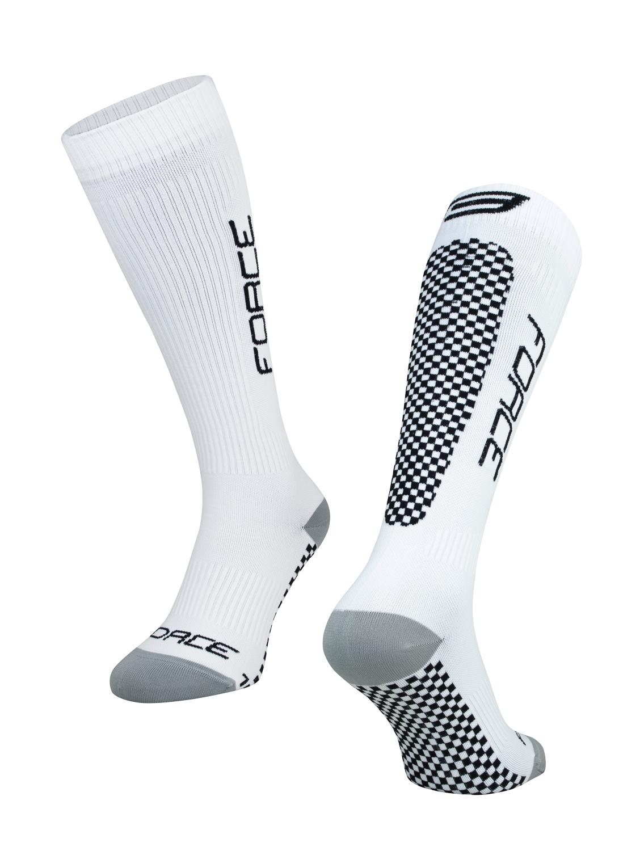 ponožky FORCE TESSERA KOMPRESNÍ,bílá-černá L-XL