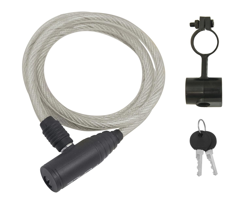 zámek F ECO spirálový s držákem 120cm/8mm, čirý