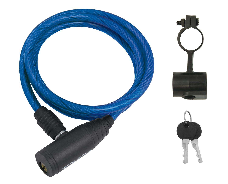 zámek F ECO spirálový s držákem 120cm/8mm, modrý