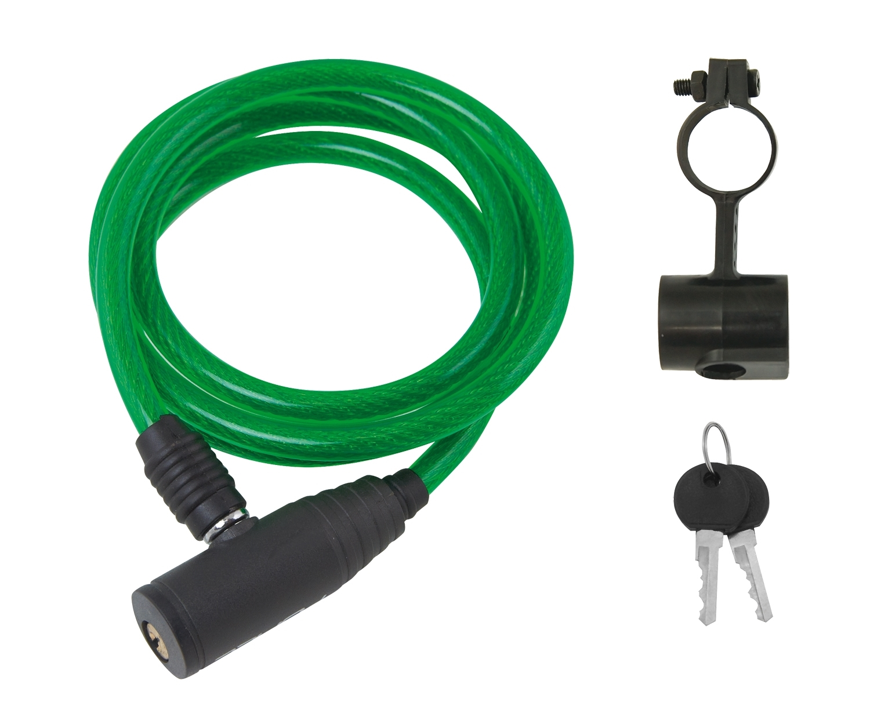 zámek F ECO spirálový s držákem 120cm/8mm, zelený