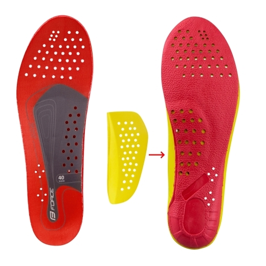 insoles for bike shoes FORCE SHOCK red