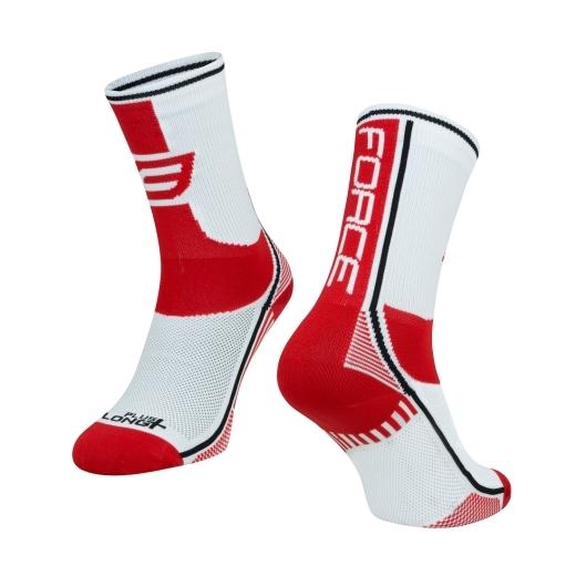 ponožky F LONG PLUS, červeno-černo-bílé