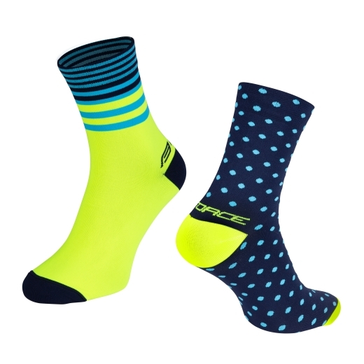 ponožky FORCE SPOT, modro-fluo S-M/36-41