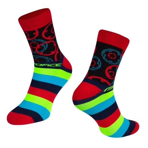 ponožky FORCE SPROCKET, červené S-M/36-41