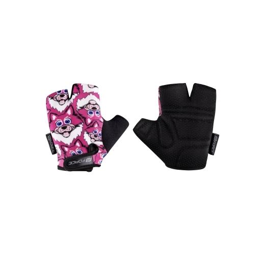rukavice FORCE WOLFIE KID, růžové