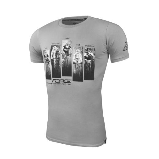 triko FORCE WORLD krátký rukáv, šedé